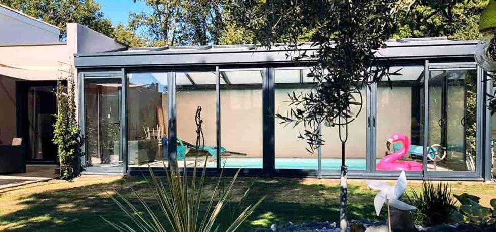 Véranda pour piscine en aluminium noir - Réalisation Design Vérandas - 44