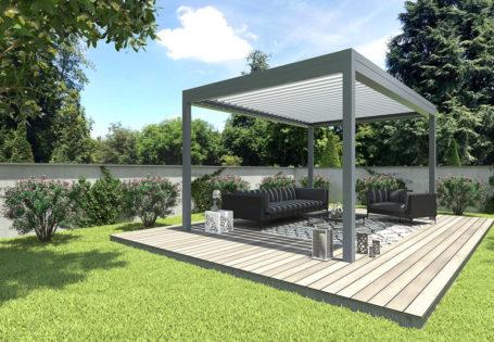 Pergola bioclimatique confort en aluminium gris, indépendante dans le jardin - Réalisation Rénoval 49