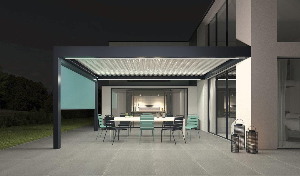 Pergola bioclimatique confort en aluminium noir avec éclairage LED périphérique - Réalisation Rénoval 49