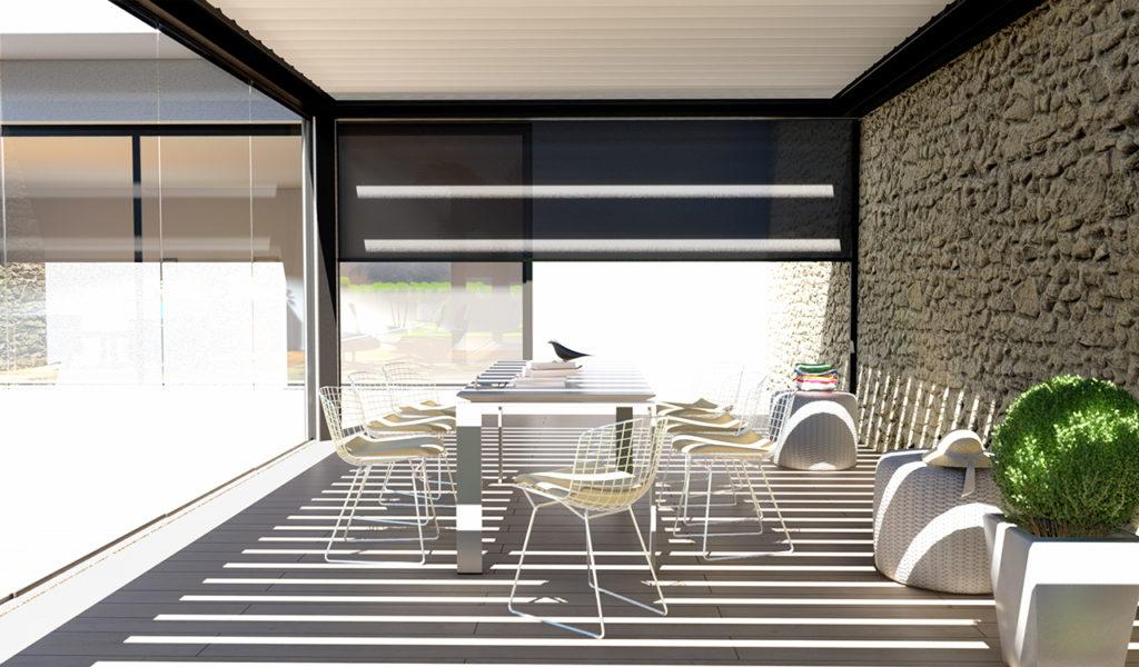 Pergola bioclimatique prestige luxe en aluminium noir, équipée de cloisons vitrées coulissantes - Rénoval 49