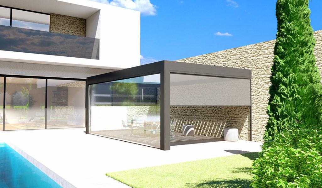 Pergola bioclimatique prestige luxe style moderne et attenante - Rénoval 49
