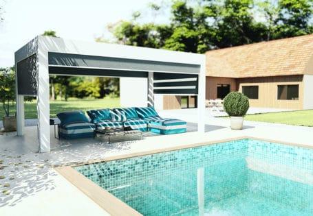 Pergola bioclimatique prestige luxe en bord de piscine avec store zip intégral