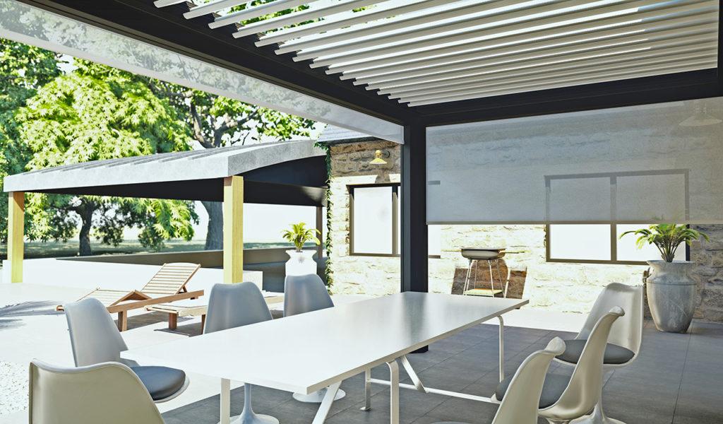 Pergola bioclimatique prestige en aluminium avec lames orientables double paroi - Rénoval 49