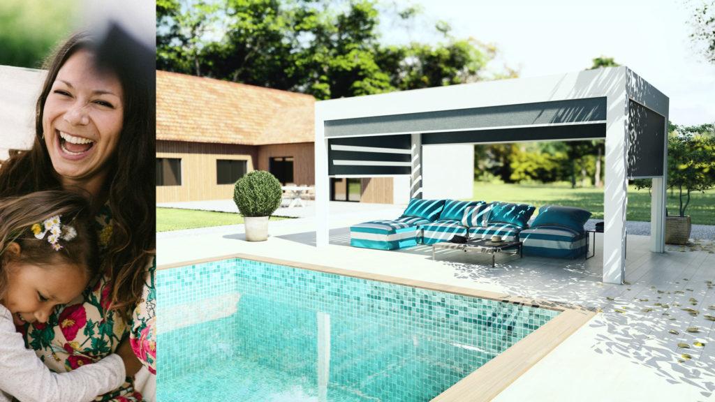 Pergola bioclimatique Rénoval - indépendante dans le jardin, bord de piscine